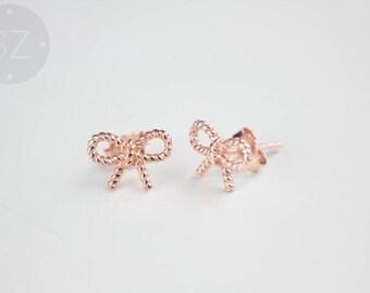 Rose Gold Bow Stud Earrings
