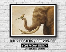 Poster Elephant & Bird