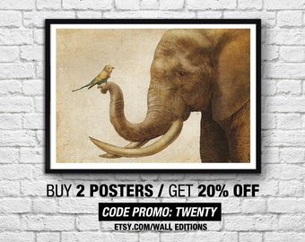 Art-Poster 50 x 70 cm - Elephant & Bird