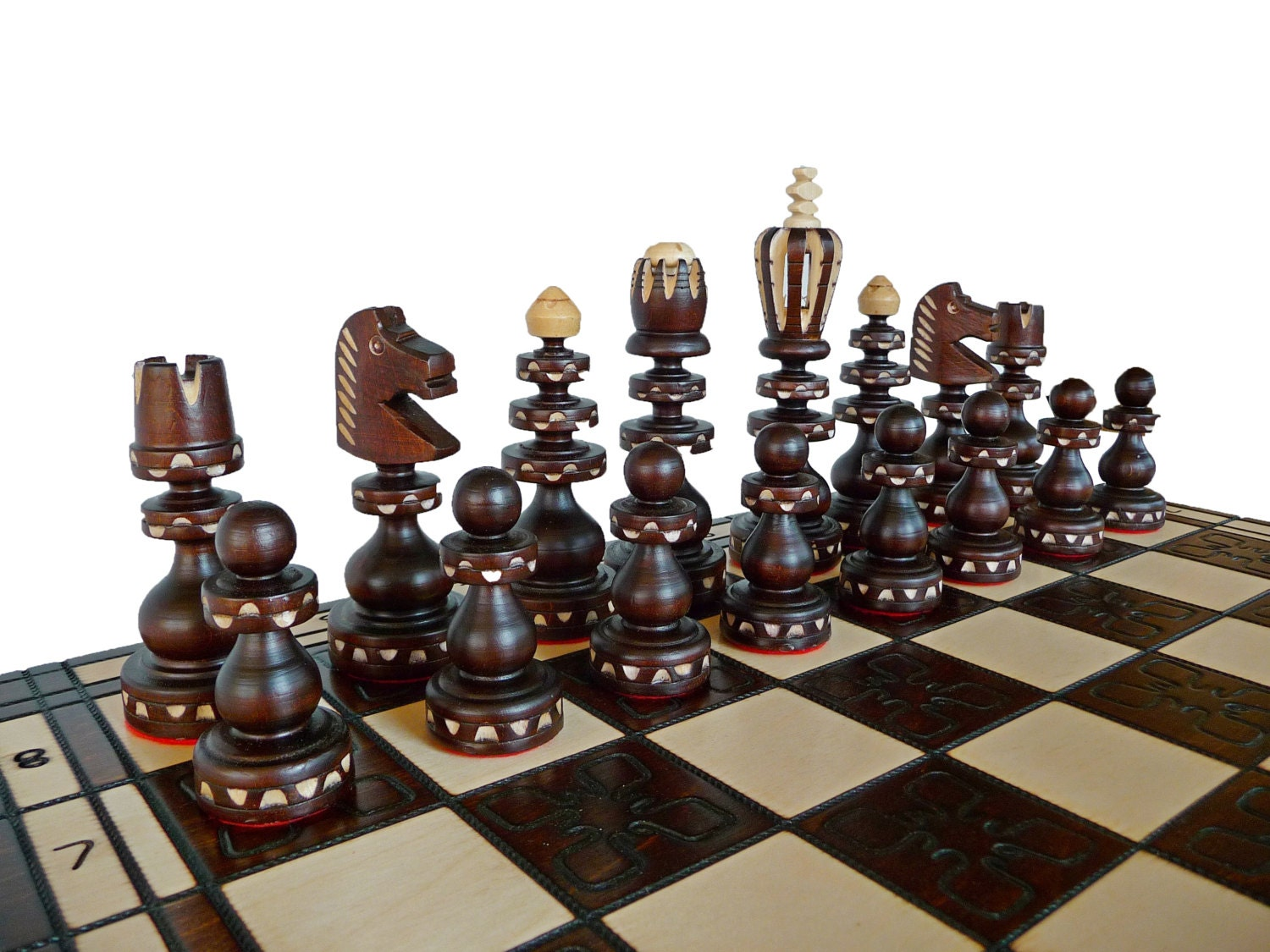 stylish wooden chess set hand crafted 55x55cm by stylishchess