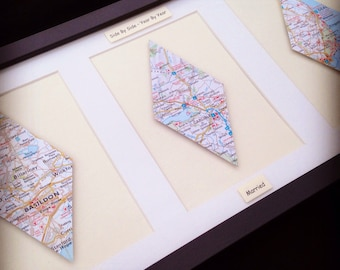 Vintage Map Frame - Three/Triple Diamond