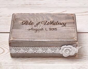 Ring Bearer Box Wedding Ring Box Ring Holder Custom Wooden Box Shabby Chic Rustic Weddings /item HB-1
