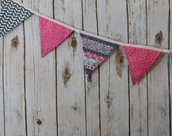 Pink and grey fabric bunting, photo prop, room decor, birthday party decor