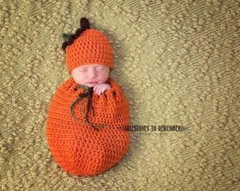 Newborn Pumpkin Snuggle Sack and Beanie - Photo Prop - Made to Order - Crochet - Fall Crochet