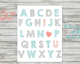 Alphabet Coral and Teal Instant Download ABCs Nursery Art