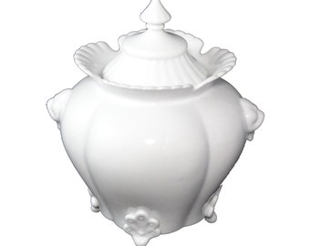 White Ceramic Double Handled Vase with Lid