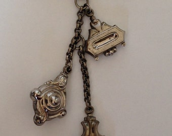 1940's silver charm brooch three charms on chain