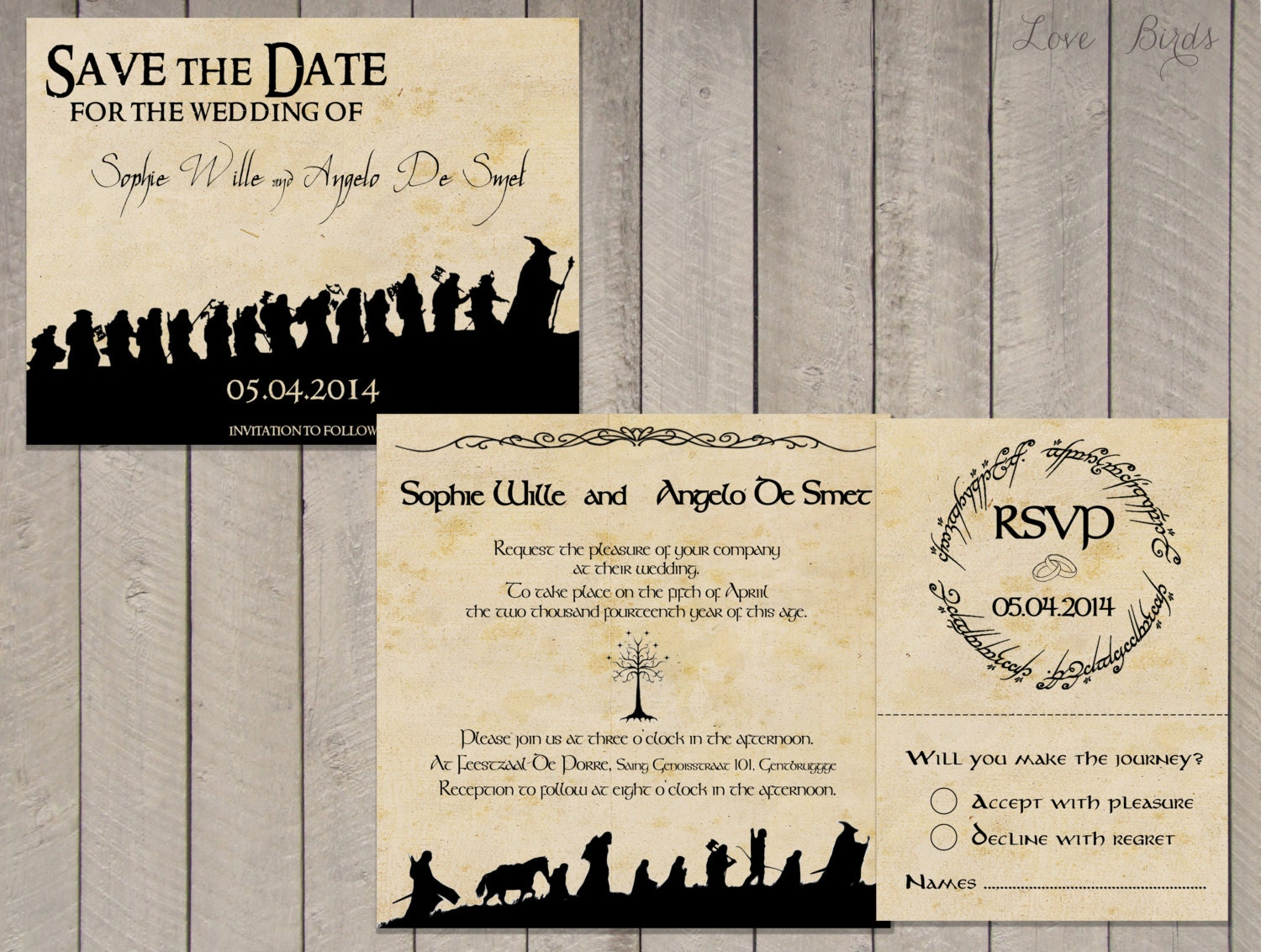 Wedding Invitation Rsvp Date: Wedding Invitation Set Lord Of The Rings Save The Date