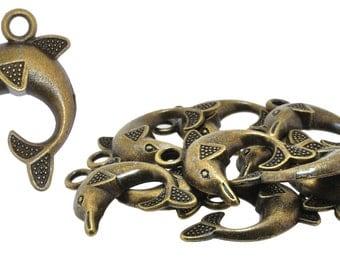 Wholesale Antique Brass Tone Dolphin Pendants, Box of 10