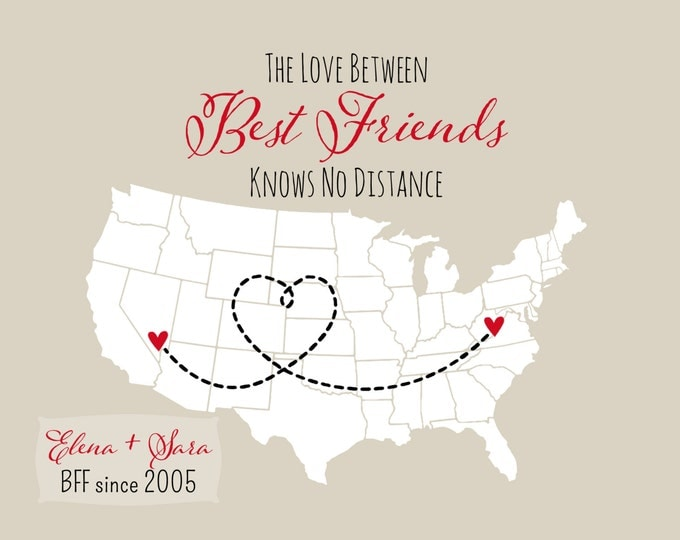 Best Friend Gifts Birthday Gift For Best Friends Personalized State Map U.S. Country World Map Christmas Idea BFF Since 8x10