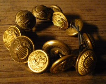 Buttons military metal, copper, brass, couture, former uniform, aviation, marine