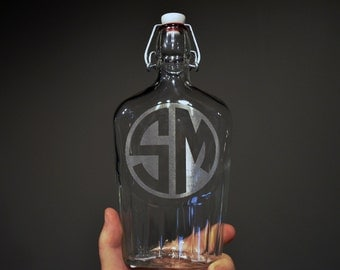 Personalized Laser Engraved Monogram on a Clear Glass Flask Bottle 17oz (500ml) w/ Swingtop - Wedding Gift