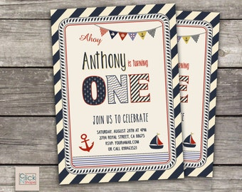 items similar to nautical birthday  nautical printable party, Birthday invitations