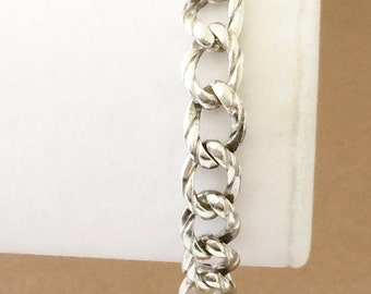 "Sterling Silver Chunky Textured Link Bracelet 7 1/2"""