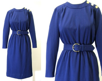 Vintage 1980s Navy Blue Dress with Matching Belt | Willow Ridge | Size 6 Dress