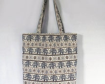 Elephant Tote bag  tribal Graphic, Large Canvas Bag, Handbag, shoulder bag, Handmade bag
