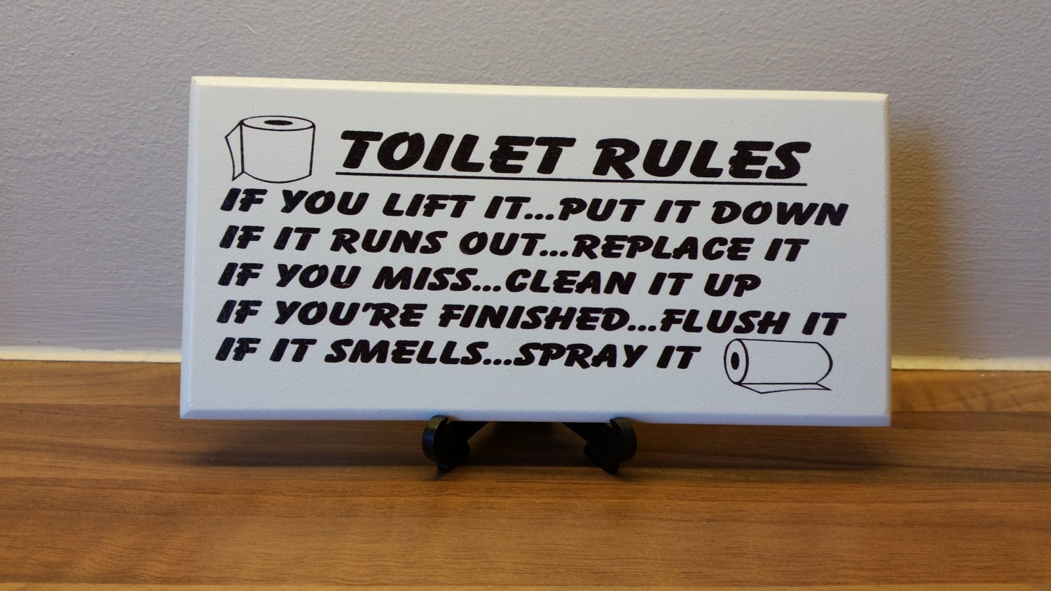 Toilet Sign Plaque Rules If You Lift It UpPut