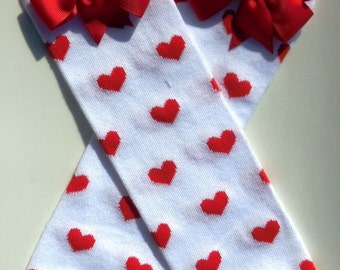 Valentine Leg warmers, White with Red Hearts Legwarmers-Cotton Legwarmer-Photo Shoot -Clothing-Birthday Pictures-Valentines