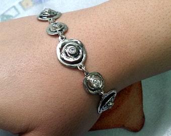Silver link bracelet, Unique silver bracelet, Statement bracelet, Israel jewelry, Sterling silver bracelet, Link bracelet, Gift for her