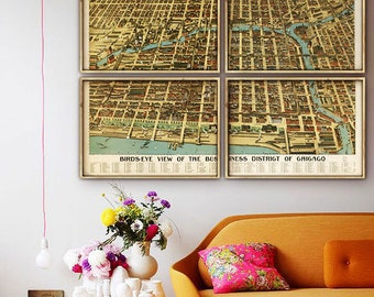 "Panoramic Map of Chicago 1898, Vintage Chicago map, 4 sizes up to 80x54"" in 1 or 4 parts Chicago IL poster map - Limited Edition of 100"