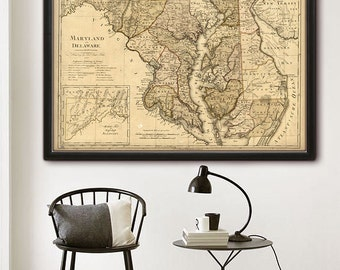 """Map of Maryland, Delaware 1797, Maryland map, Delaware map in 4 sizes up to 45x30"""" (115x75 cm) also in blue - Limited Edition of 100"""