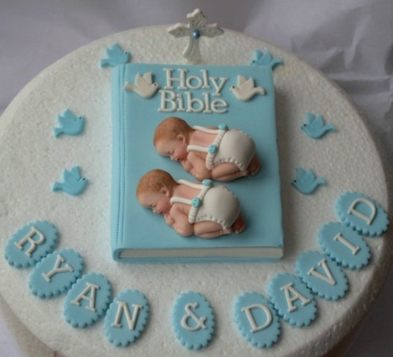Christening Cake Designs For Twins : Personalised edible twin baby boys Christening Baptism cake