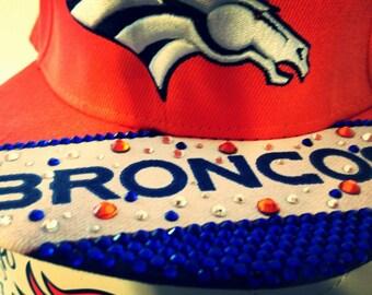 Denver Broncos Hat decorated in Swarovski crystals