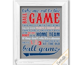 Baseball Theme Teen Boy bedroom Take me out to the Ball Game in Navy Blue Red & Gray ballgame Nursery room Decor printable digital download