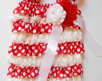 White/red dot  lace Romper with  bow on shoulder,Baby girls Romper, Wedding flower girl, Petti romper