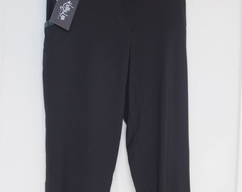She Loves Black Wool Pant/ Capri with Snakeskin bind on Pocket and Leather button SALE was 70.00 now 40.00
