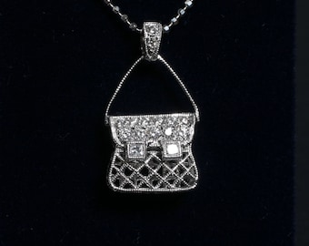 Bag 18k White gold Diamond Pendant / 0.16ct