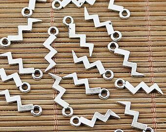 lightning bolt charm silver 15x4 mm 10 pcs