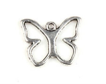 open winged butterfly silver tibetan finding charm qty 5