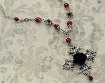 Vampiress - Silver and Burgundy Gothic Necklace - Gothic Cross Necklace - Free US Shipping