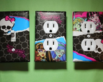 Monster High 3 piece Light Switch Plate and Socket Cover set girls boys childs room home decor Frankie Stein Draculaura