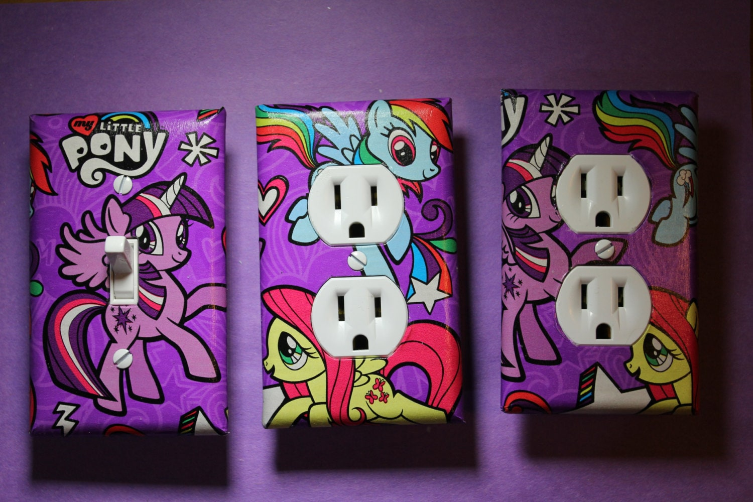 my little pony light switch socket cover set by comicrecycled
