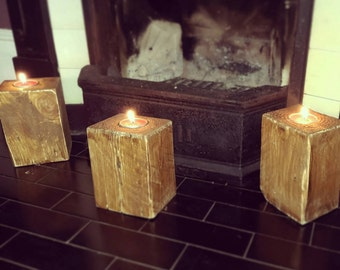 Rustic wooden block candle holder
