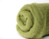 Needle felting wool, 1 oz, asparagus.  Maori wool blend of coopworth and corriedale. Olive green needle felting wool. Carded wool, felting.