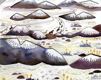 Australian Alps A3 Print - Watercolour Illustration