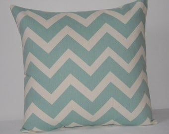 Light Blue/Green and Ivory Chevron  pillow cover, Nursery pillow, throw  pillow, pillow cover, Blue  Pillow cover  , zig zag pillow cover