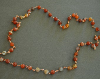 Copper and Sardonyx necklace or wrap bracelet