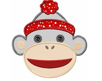 Sock Monkey Face Applique Machine Embroidery DESIGN NO. 160