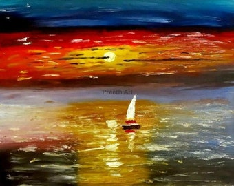 Christmas sale Original sunset oil painting colorful golden sunset Textured Impasto Palette knife Landscape painting Living room Wall decor