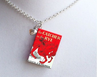 Catcher In The Rye with Tiny Heart Charm - Miniature Book Necklace