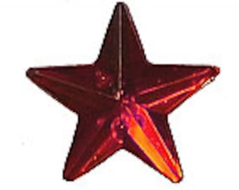 Acrylic Star - 2 Hole Sew on Stone - Pack 15 - Fire Engine Red