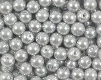 Glass Pearls - 4mm - Silver - Pack 100