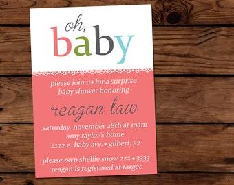 5x7 Baby Shower Invitation - Oh, Baby