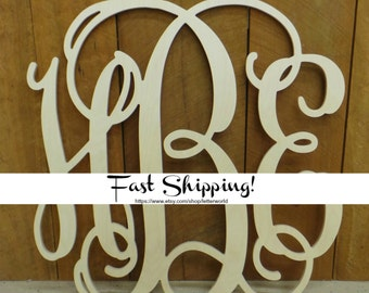 "24"" Unpainted Wooden Monogram - Vine Script Monogram - Monogram Door Hanger - Monogram Wall Hanging - Wedding Monogram - Nursery Monogram"