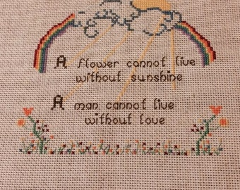 Counted Cross Stitch Finished, Rainbow, Flowers, Home decor, unframed
