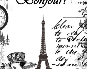 Vintage Style Notecards Eiffel Tower Paris French Bonjour Set of 10